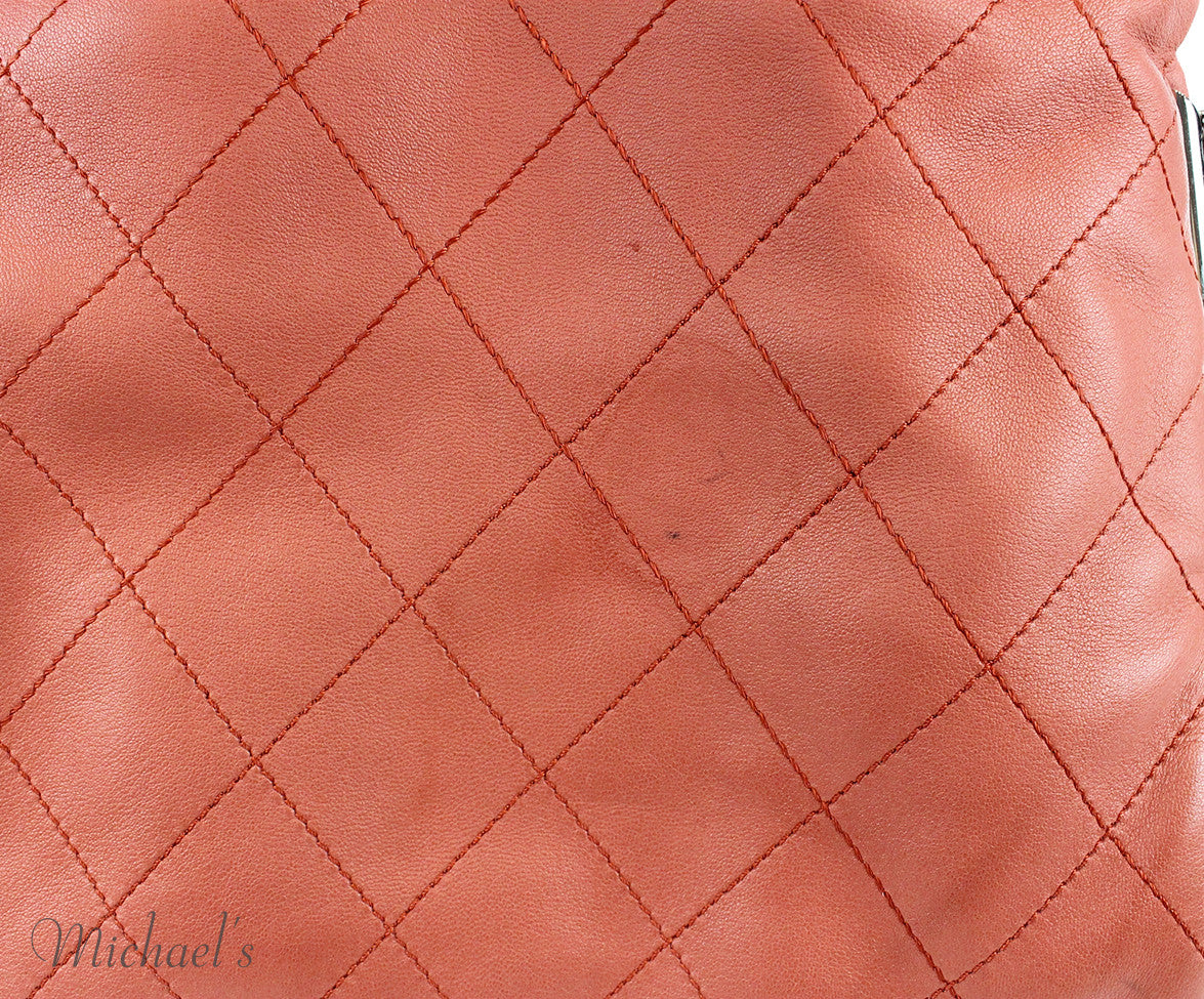 Chanel Coral Leather Quilted Bag - Michael's Consignment NYC  - 9