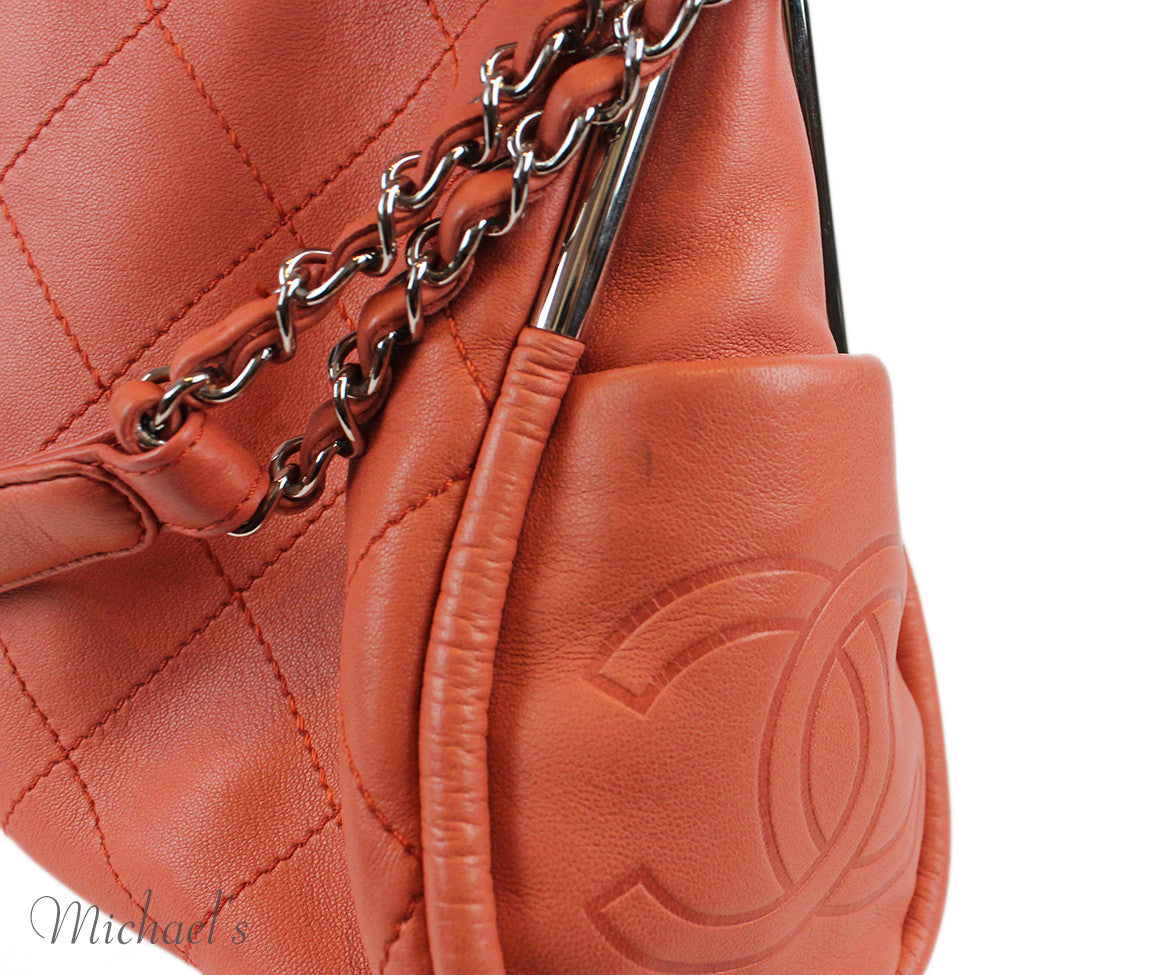 Chanel Coral Leather Quilted Bag - Michael's Consignment NYC  - 10