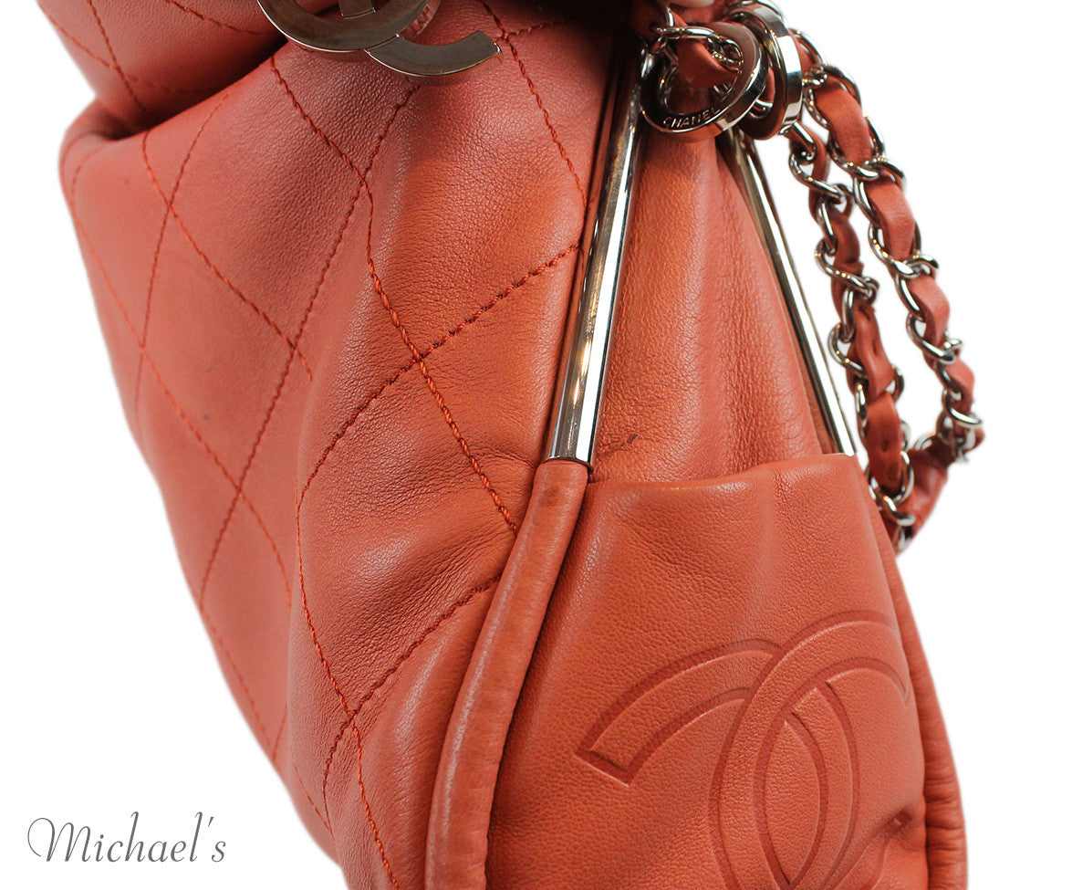 Chanel Coral Leather Quilted Bag - Michael's Consignment NYC  - 11