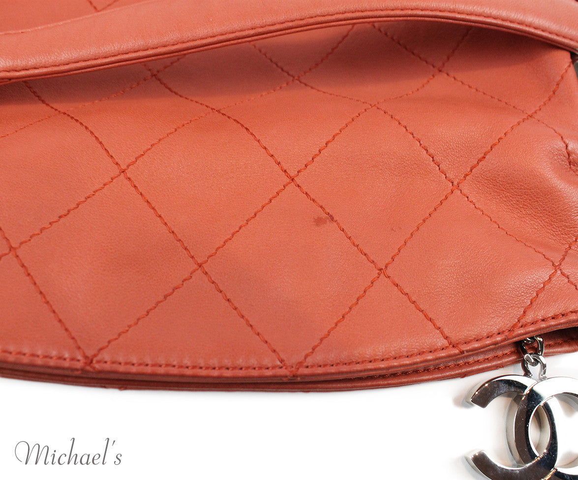 Chanel Coral Leather Quilted Bag - Michael's Consignment NYC  - 12