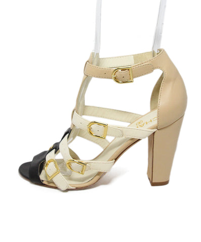Chanel Neutral Cream Leather Beige Black Sandals Heels 1