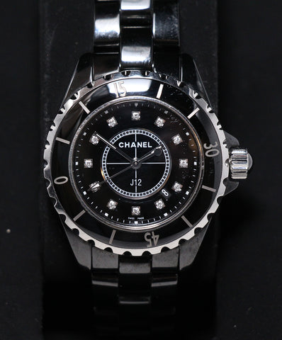 Chanel Diamond Gunmetal Watch 1