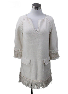 Chanel Ecru Cotton Dress with Fringe sz 8