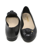 Chanel Black Leather Flower Detail Flats 3