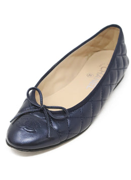 Chanel Navy Quilted Leather Shoes 1