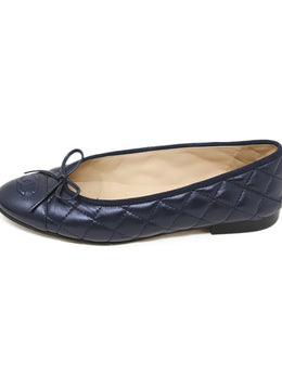 Chanel Navy Quilted Leather Shoes 2