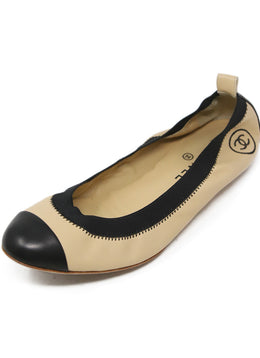 Chanel Tan Black Trim Leather Flats 1