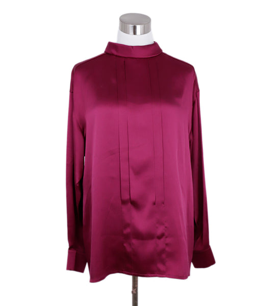 Chanel Fuchsia Silk Gold Buttons Blouse 1