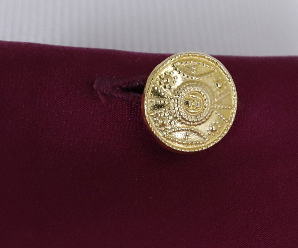 Chanel Fuchsia Silk Gold Buttons Blouse 7