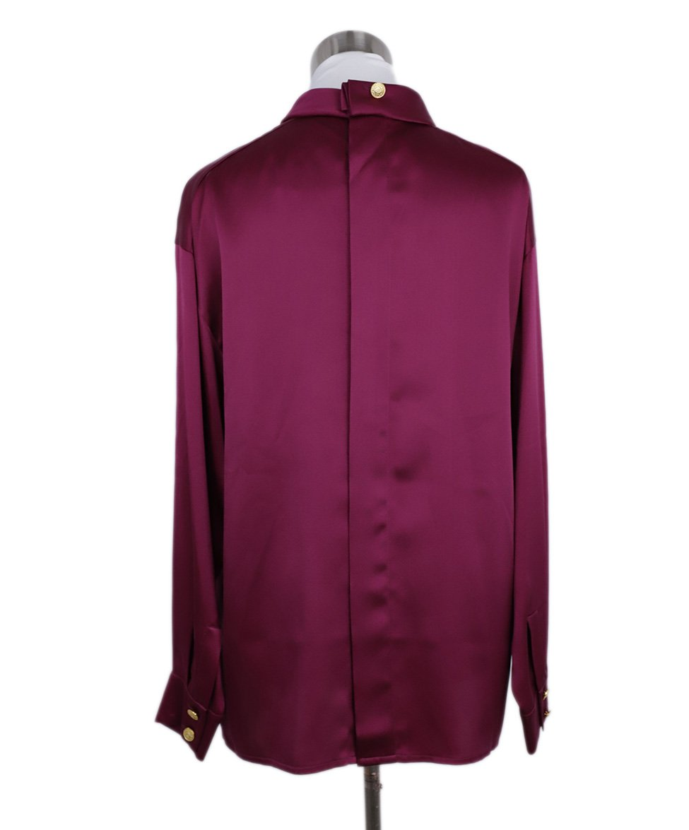 Chanel Fuchsia Silk Gold Buttons Blouse 3