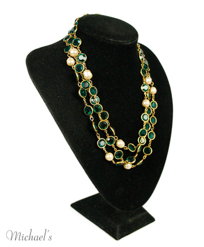 Chanel 1981 Gold Green Crystal Pearl Vintage Necklace
