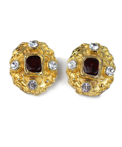 Chanel Gold Metal Burgundy Clear Stone Earrings