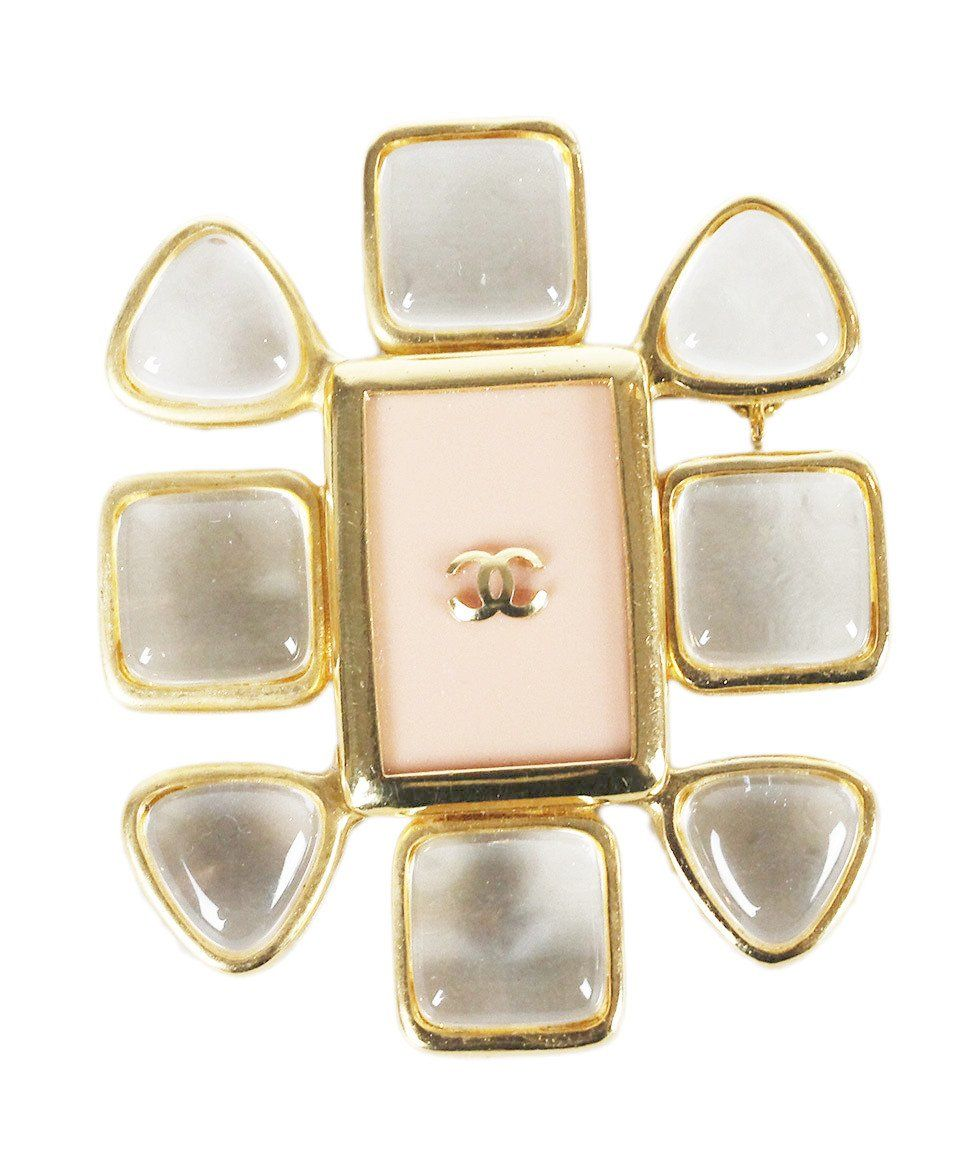 Chanel Gold Metal Pink Enamel Clear Acrylic Pin
