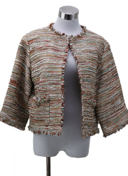 Chanel Orange Gold Metallic Tweed Jacket