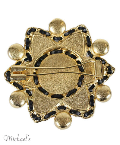 Chanel Gold Multicolor Stone Leather Trim Pin