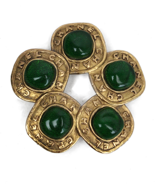 Chanel Gold and Green Stones Brooche 1