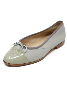 Chanel Green Light Lambskin Leather Flats