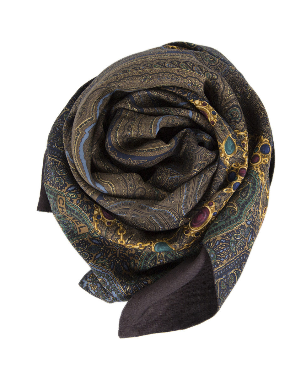 Chanel Green Navy Paisley Silk Scarf - Michael's Consignment NYC  - 1