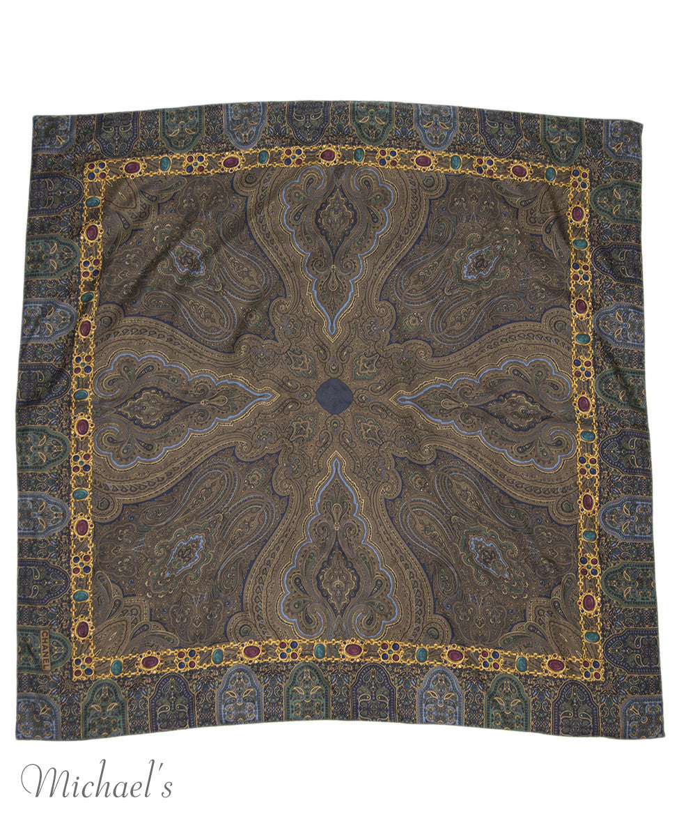 Chanel Green Navy Paisley Silk Scarf - Michael's Consignment NYC  - 2