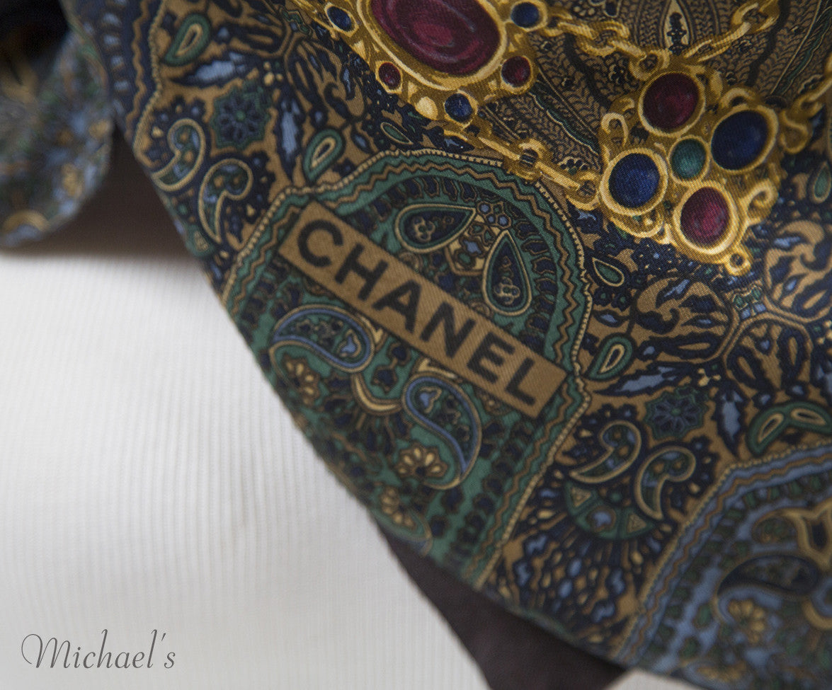 Chanel Green Navy Paisley Silk Scarf - Michael's Consignment NYC  - 4