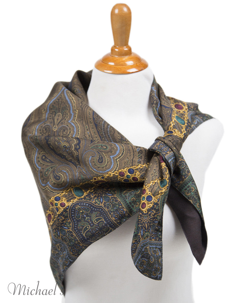 Chanel Green Navy Paisley Silk Scarf - Michael's Consignment NYC  - 5