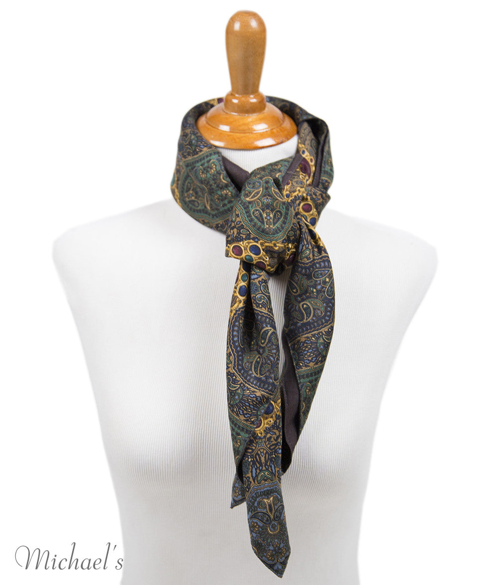 Chanel Green Navy Paisley Silk Scarf - Michael's Consignment NYC  - 6