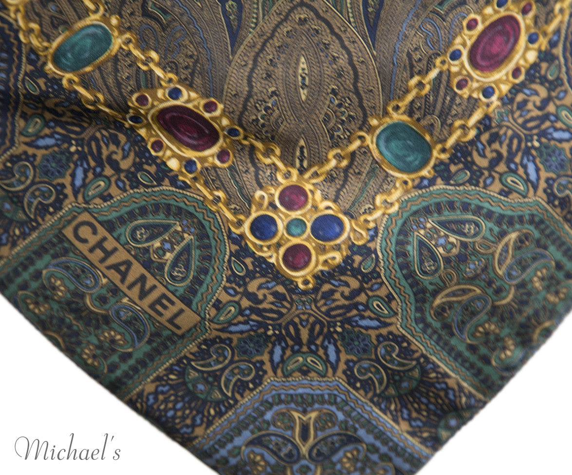 Chanel Green Navy Paisley Silk Scarf - Michael's Consignment NYC  - 9