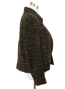 Chanel Brown Green Black Tweed Jacket Sz 8