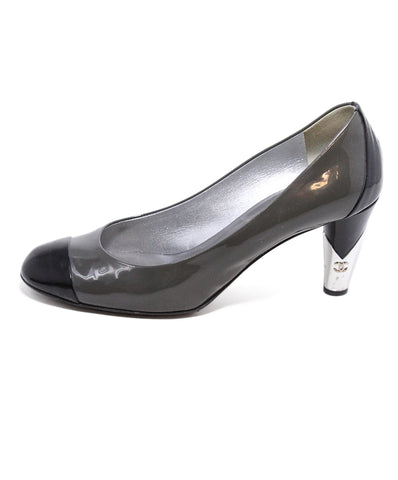Chanel Grey Black Leather Heels 1