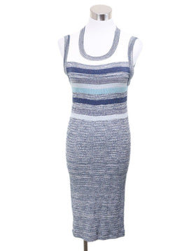 Chanel Grey Blue White Cotton Nylon Dress 1