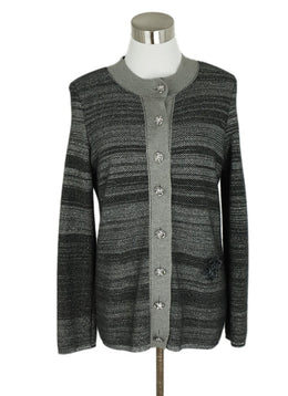 Chanel Grey Charcoal Black Cashmere Polyester Sweater set 2
