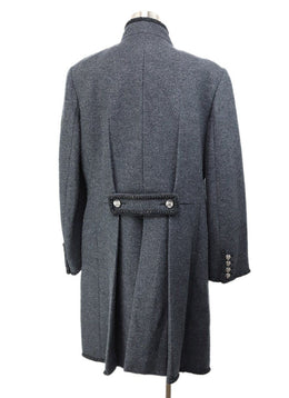 Coat Chanel Grey Charcoal Wool Lurex Trim Outerwear 3