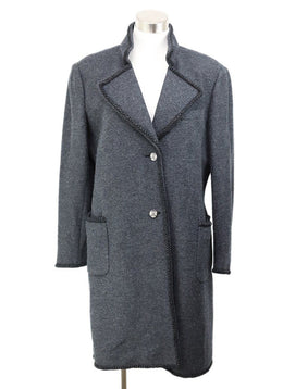 Coat Chanel Grey Charcoal Wool Lurex Trim Outerwear 1