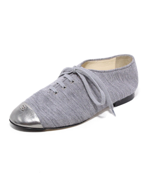 Chanel Grey Cotton Silver Trim Flats 1