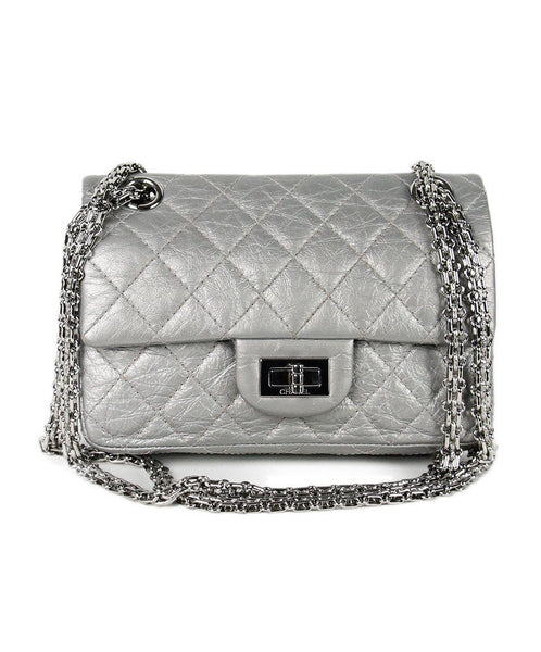 Chanel Grey Distressed Leather Silver Hardware Handbag