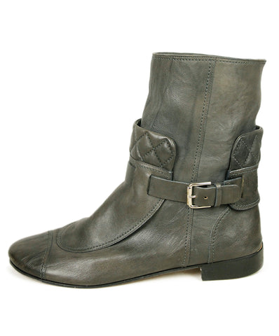 Chanel Grey Leather Boots 1