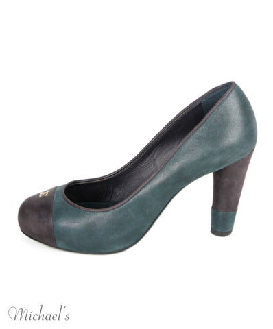 Chanel Grey Plum Leather Heels Sz 36.5