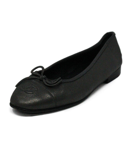 Chanel Black Leather Chain Trim Flats Sz 40.5