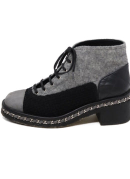 Chanel Grey and Black Booties 2