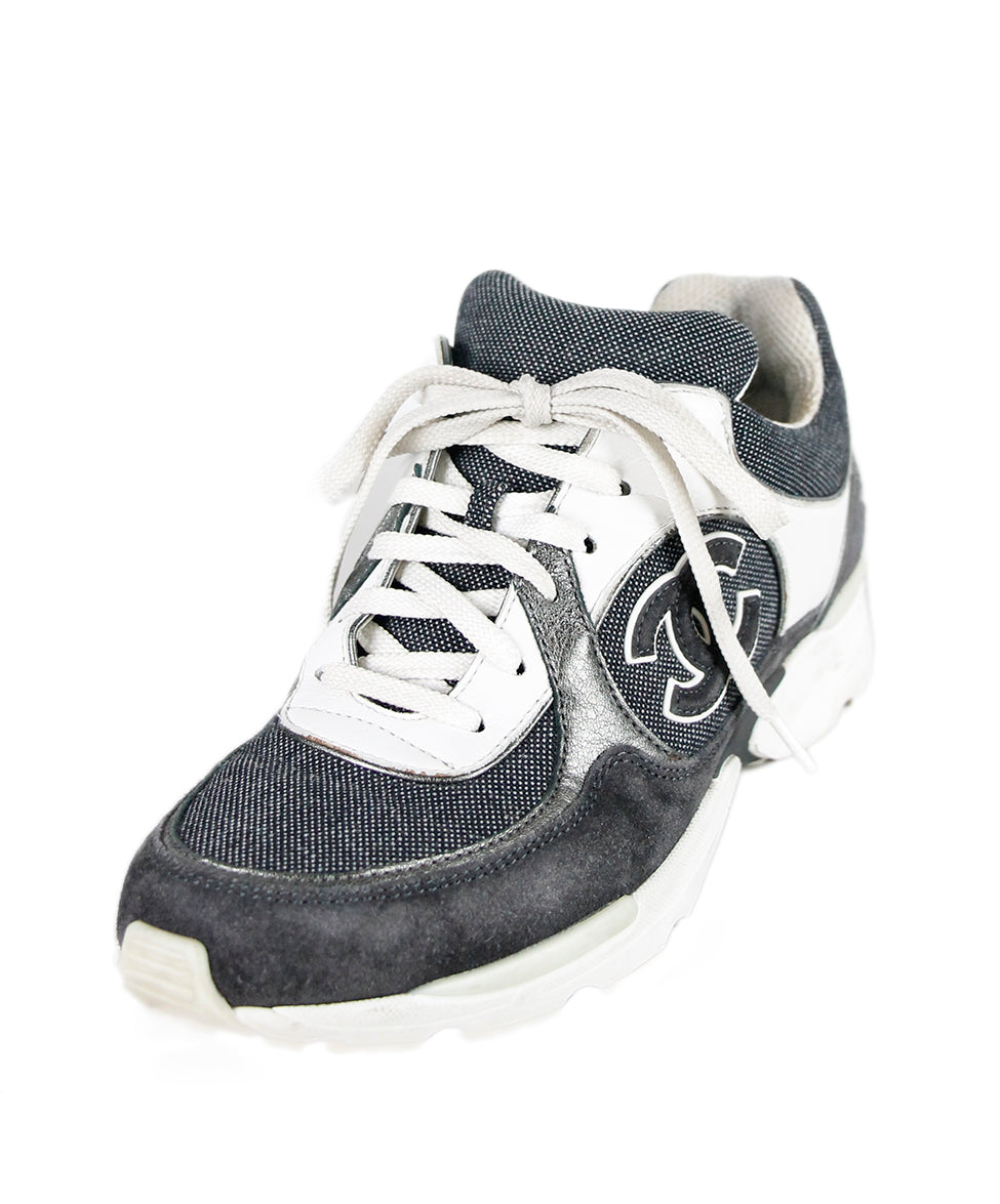 chanel sneakers. chanel sneakers us 6.5 grey white canvas suede leather shoes