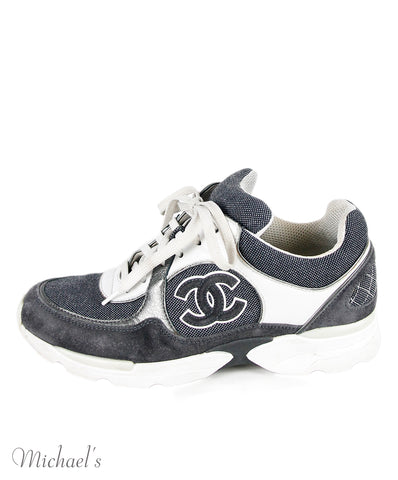 Chanel Sneakers US 6.5 Grey White Canvas Suede Leather Shoes