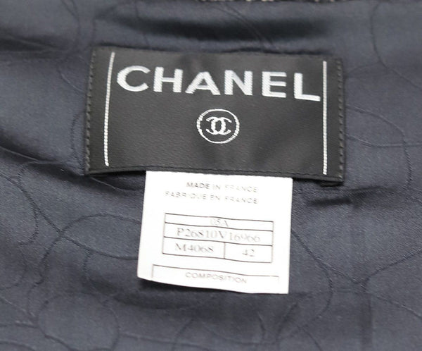 Chanel Black Taupe Wool Zipper Coat 4