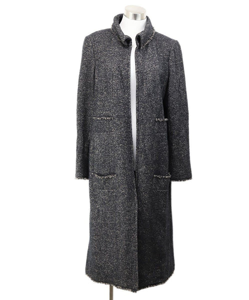 Chanel Black Taupe Wool Zipper Coat 1