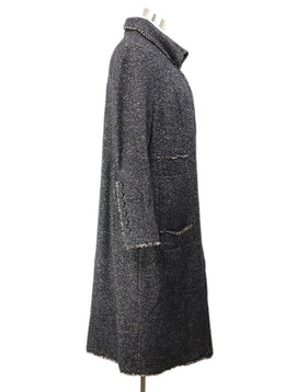 Chanel Black Taupe Wool Zipper Coat 2