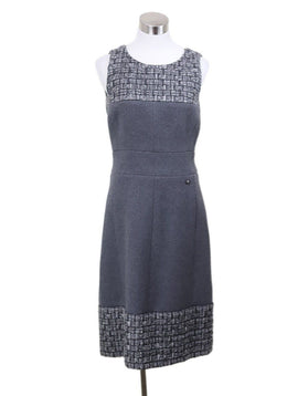 Chanel Grey Wool Cashmere Tweed Dress Sz 6