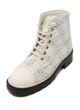 Chanel Ivory Blue Tweed Patent Trim Booties 1