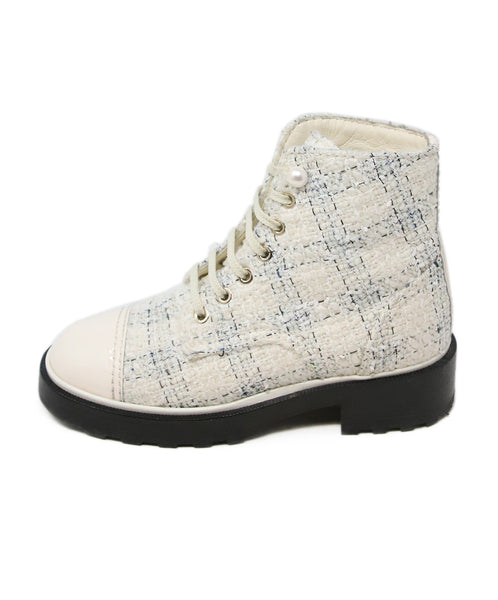 Chanel Ivory Blue Tweed Patent Trim Booties 2