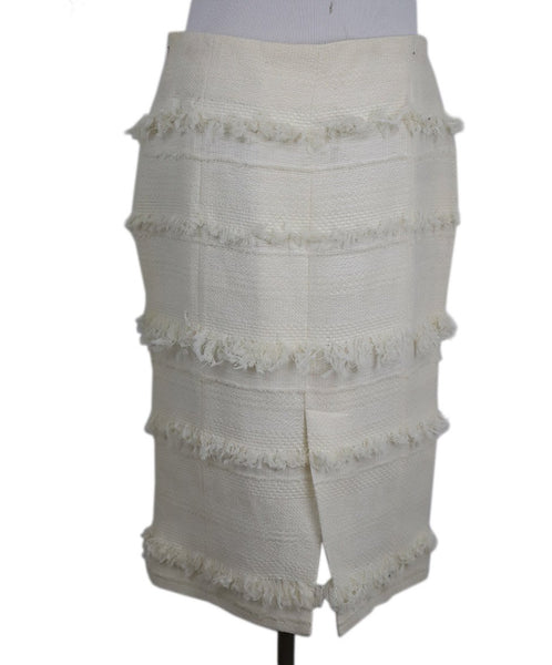 Chanel Size 4 White Ivory Cotton Skirt 3