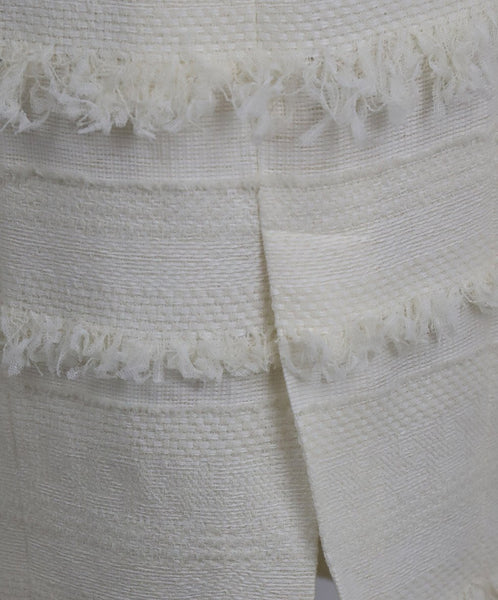 Chanel Size 4 White Ivory Cotton Skirt 9