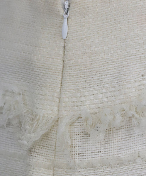Chanel Size 4 White Ivory Cotton Skirt 11